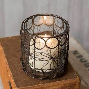 Daisies Wire Candle Holder with Glass