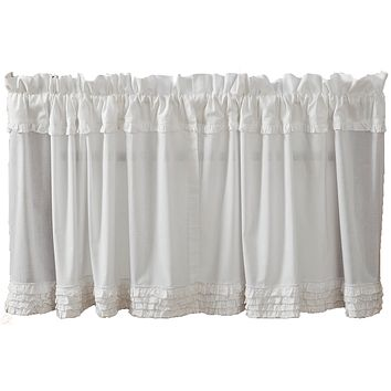White Ruffled Sheer Tier Curtains 24""