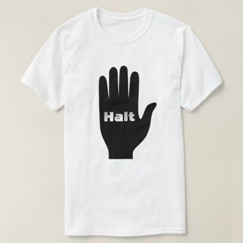 A Hand with with word Halt inisde T-Shirt