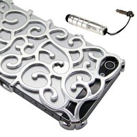 Silver Luxury Chrome Electroplating Hollow Pattern PC Hard Back Case Cover for Apple iPhone 5