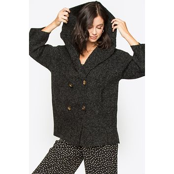 Hooded Button Down Knit Jacket
