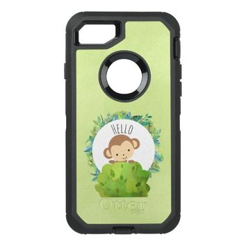 Cute Monkey Peeking Out from Behind a Bush Hello OtterBox Defender iPhone 7 Case