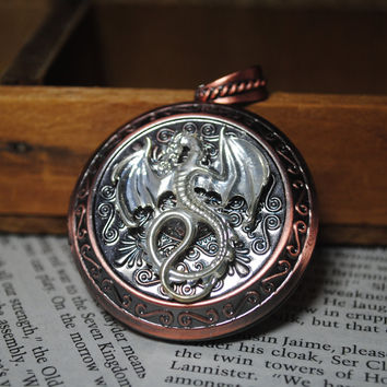 Game Of Thrones House Targaryen Locket Necklace Silver Dragon Cosplay Made To Order