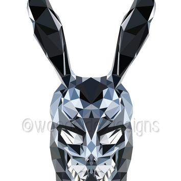 Donnie Darko, Frank The Rabbit Low Poly print, Printable Wall Art, Geek Art gift, Movie Poster, Frank the Bunny illustration, Teen Poster