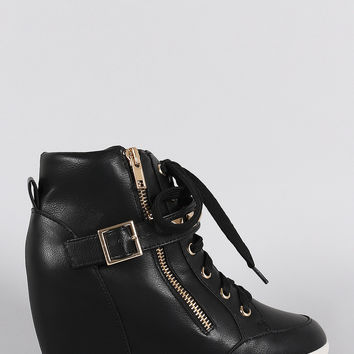 Wild Diva Lounge Studded Buckle Lace Up High Top Wedge Sneaker