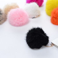 10 Colors Cute Rabbit Hair Fur Ball Dust Plug 3.5mm Smart Phone Plug iPhone 4 4S 5 5S Dust Plug Samsung Charm Headphone Jack Ear Cap