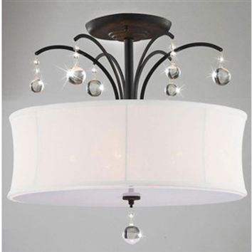 5-Light Crystal Chandelier with White Cream Drum Shade