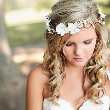wedding headband Bridal Flower hair wedding by serenitycrystal