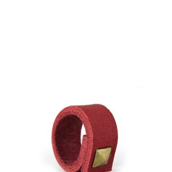 Punk Up Single Leather Stud Ring - Red