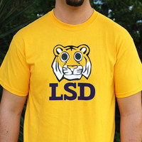 LSD Tshirt with Funny Tiger / Football Gold / Size by dirTapparel