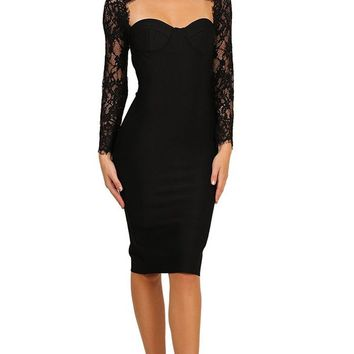 Take Your Time Black Lace Long Sleeve Cut Out Mock Neck Bandage Bodycon Midi Dress