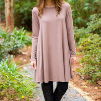 Pocket Tunic Dress- Long Sleeve Mocha