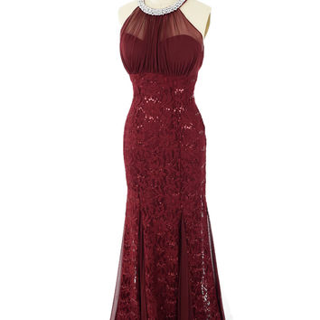 Burgundy Lace and Chiffon Halter Style Gown