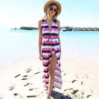 V-neck Stripes Deep V New Arrival Summer Women's Fashion Female Striped One Piece Dress = 5826471937