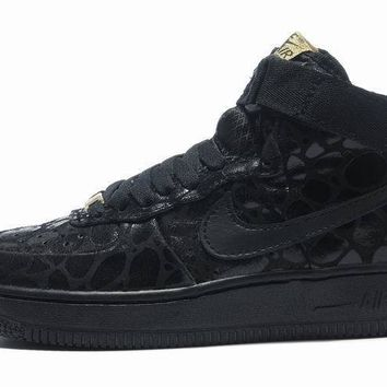 LMFON Nike Air Force 1 All Black For Women Men Running Sport Casual Shoes Sneakers