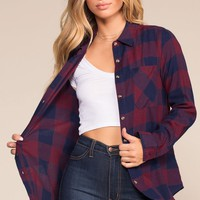 Ace Flannel Top - Navy/Burgundy