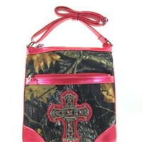 Camo Leaf Rhinestone Cross Small Hipster Cross Body Messenger Bag Purse (pink)
