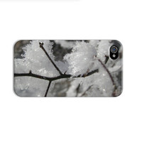 Frosted branch iphone case, winter iphone 4 case, ice crystals iphone case, snow iphone case,  iphone 3gs ,unique iphone 4 cases