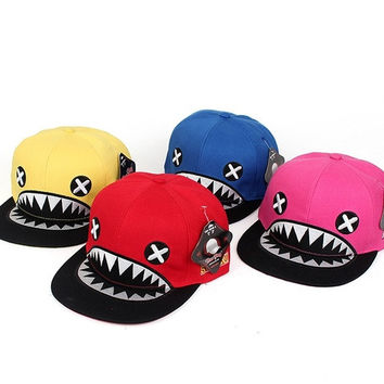 New Summer Fashion Shark Model Hats Casual Street Hip Hop Baseball Cap 5 Solid Color
