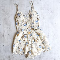 final sale - staying in paris - floral embroidered romper - beige