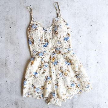 staying in paris - floral embroidered romper - beige