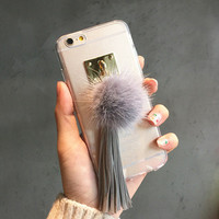 Hot Sale Cute Iphone 6/6s On Sale Stylish Hot Deal Tassels Transparent Phone Case [6282338758]