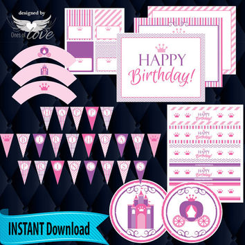Birthday Princess Party Package, Instant digital download | pink, purple | Castle | Decorations | Digital papers | Birthday Banner | Labels