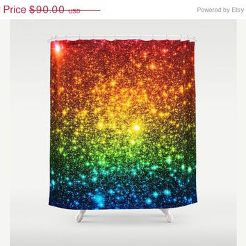 SALE Galaxy Shower Curtain, Rainbow Ombre, Astral Glitter Shower Curtain, Bathroom Decor, Home Decor, Red Yellow Green Blue, Colorful Galaxy