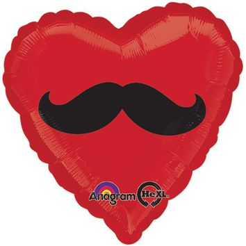 Heart Shaped Mustache Helium Balloon : 17""