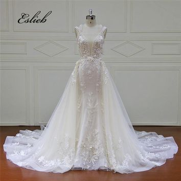 Newest Mermaid with Detachable Train Lace Flowers Wedding Dress V Neck Luxurious Bridal Gown Special Design