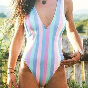 A| Chicloth Colorful Striped Triangle Backless One-Piece Swimsuit