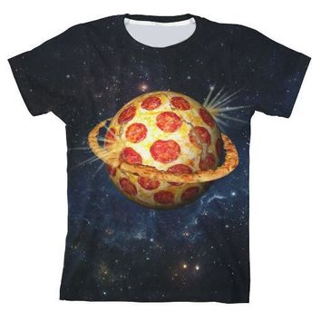Planet Pizza T-Shirt Space - All Over Print 3D Tee