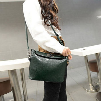 Women PU Bag Turn Lock Satchel Messenger Crossbody Shoulder Handbags Green = 1705678724