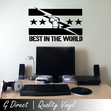 Best in the World CM Punk Style Wall Sticker wrestling Bedroom Vinyl Art Graphic 100x55
