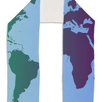 "Cool World Map Design Adult Fleece 64"" Scarf All Over Print"