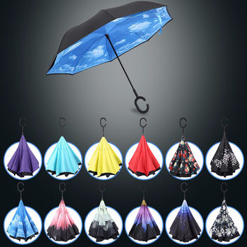 Windproof Reverse Folding Double Layer Inverted Chuva Umbrella Self Stand Inside Out Rain Protection C-Hook Hands 12 colors
