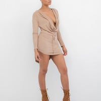 INDYA Plunging Ultra Faux Suede Dress at FLYJANE
