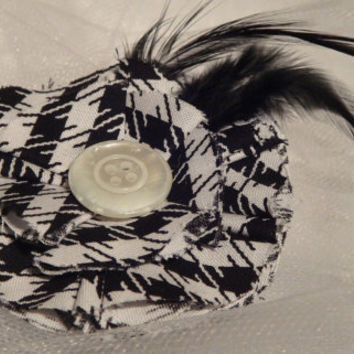 Fabric Flower Hair Clip Houndstooth  by AffordableAdorableKC