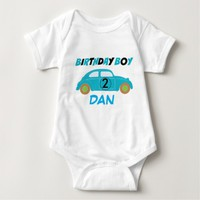 Birthday Boy,Light Blue Car, Baby's Name Bodysuit