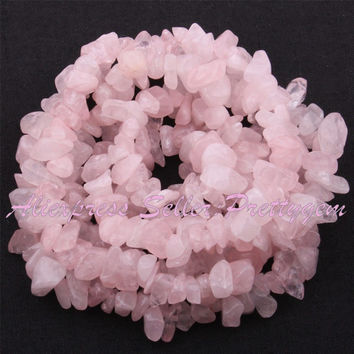 Free Shipping 4x6-6x8mm Natural Freeform Rose Quartz Chip Gem Stone For DIY Necklace Bracelat Jewelry Making Spacer Beads 34""
