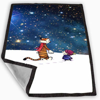 Calvin And Hobbes Lets go exploring Blanket for Kids Blanket, Fleece Blanket Cute and Awesome Blanket for your bedding, Blanket fleece **