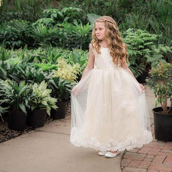 Aletta Ivory Satin Sweetheart Lace & Tulle Gown Dress