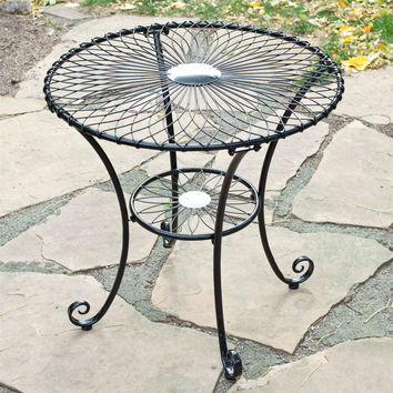 Gloss Black Steel 30-inch Round Outdoor Patio Bistro Table - Seats 2-3 People