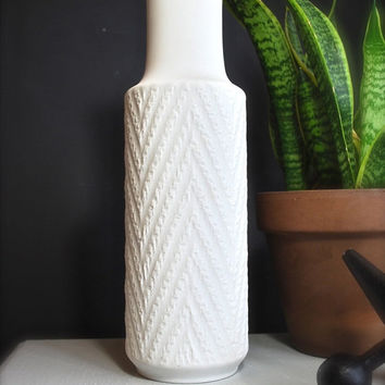 ON SALE Large Scale West German Matte White Porcelain Chevron Vase by Hutschenreuther