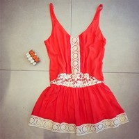 541860 Cute red and white lace v-neck sleeveless casual mini dress | Candy Blue Shop
