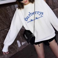 Burberry Women Fashion All-match Simple Casual Letter Scalloped Long Sleeve Round Neck Cotton Sweater