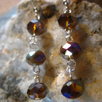 Amber Crystals with Aurora Borealis Luster Earrings