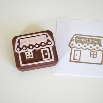 Hand Carved Rubber Stamp / Sweet Home