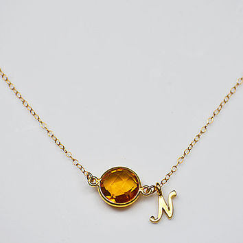 Personalized Birthstone and Initial Letter Necklace - Natural Gemstone Bezel Station Necklace - gold or silver - Initial Necklace - Gift