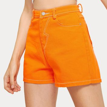 Neon Orange Pocket Back Denim Shorts